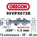 Chaine de tronçonneuse .325 1.3 72E Oregon référence 95VPX072E