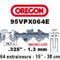 Chaine de tronçonneuse ,325 1,3 64E Oregon référence 95VPX064E