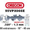 Chaine de tronçonneuse ,325 1,3 66E Oregon référence 95VPX066E