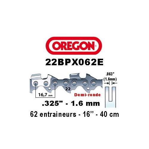 Chaine de tronçonneuse .325 1.6mm 62 entraineurs OREGON référence 22BPX062E