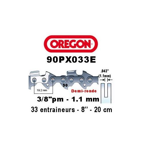 Chaine de tronçonneuse 3/8 picco micro 1,1 33E Oregon référence 90PX033E