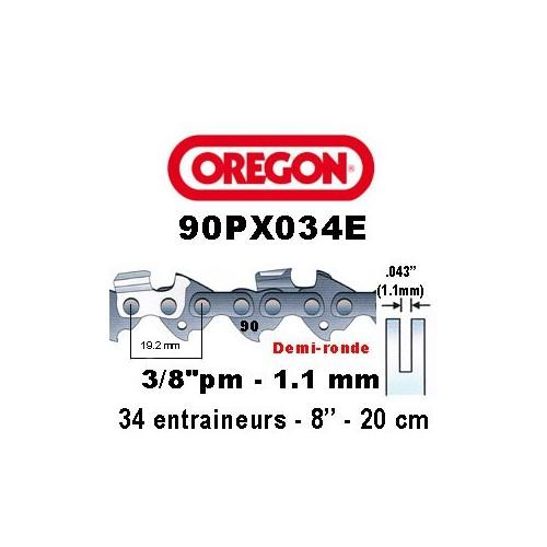 Chaine de tronçonneuse 3/8 picco micro 1,1 34E Oregon référence 90PX034E