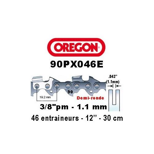 Chaine de tronçonneuse 3/8 picco micro 1,1 46E Oregon référence 90PX046E