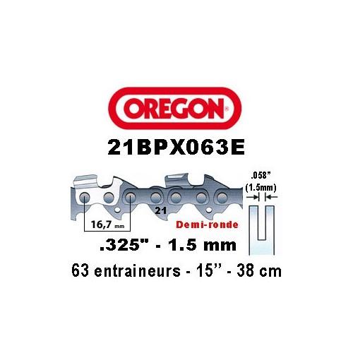 Chaine de tronçonneuse ,325 1,5 63E Oregon référence 21BPX063E
