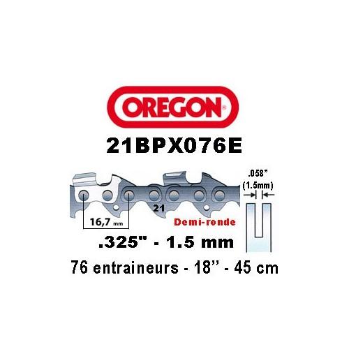 Chaine de tronçonneuse ,325 1,5 76E Oregon référence 21BPX076E