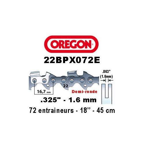 Chaine de tronçonneuse ,325 1,6 72E Oregon référence 22BPX072E