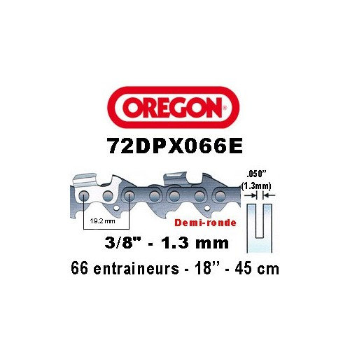 Chaine de tronçonneuse 3/8 1,3 66E Oregon référence 72DPX066E
