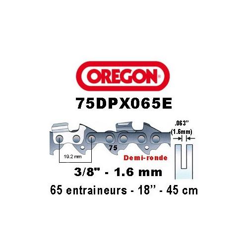 Chaine de tronçonneuse 3/8 1,6 65E Oregon référence 75DPX065E