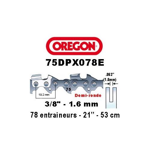 Chaine de tronçonneuse 3/8 1,6 78E Oregon référence 75DPX078E