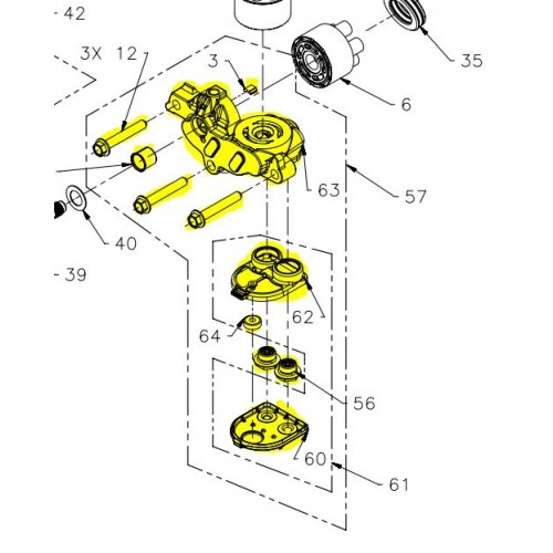 Ensemble partie centrale hydrostatique avec filtre à huile d'origine référence 71530 Hydro Gear