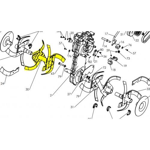 Fraise double depart droit mono hel40x4 d30 d'origine référence 0320010009 pubert