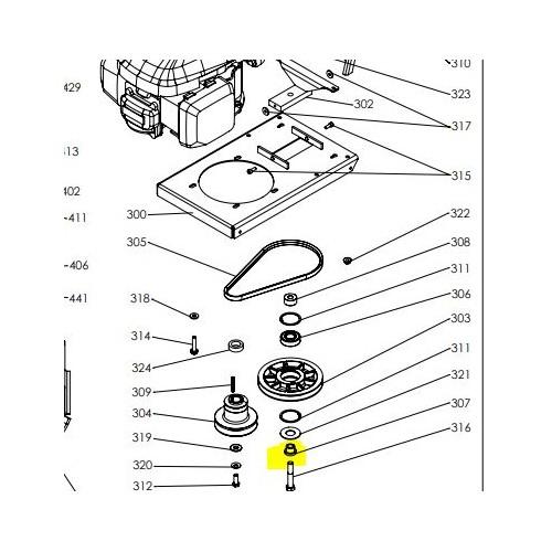 Axe de poulie oscillante d'origine référence 0302010016 pubert
