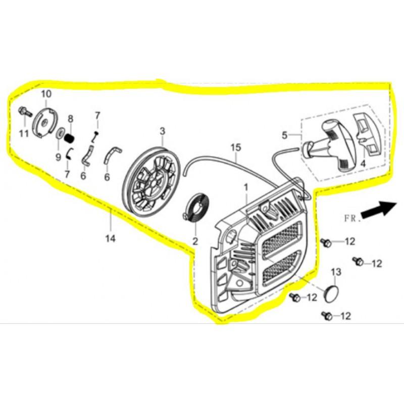 Lanceur complet pour moteur R210 référence 28200-Z440110-H300 d'origine Robin Subaru Worms